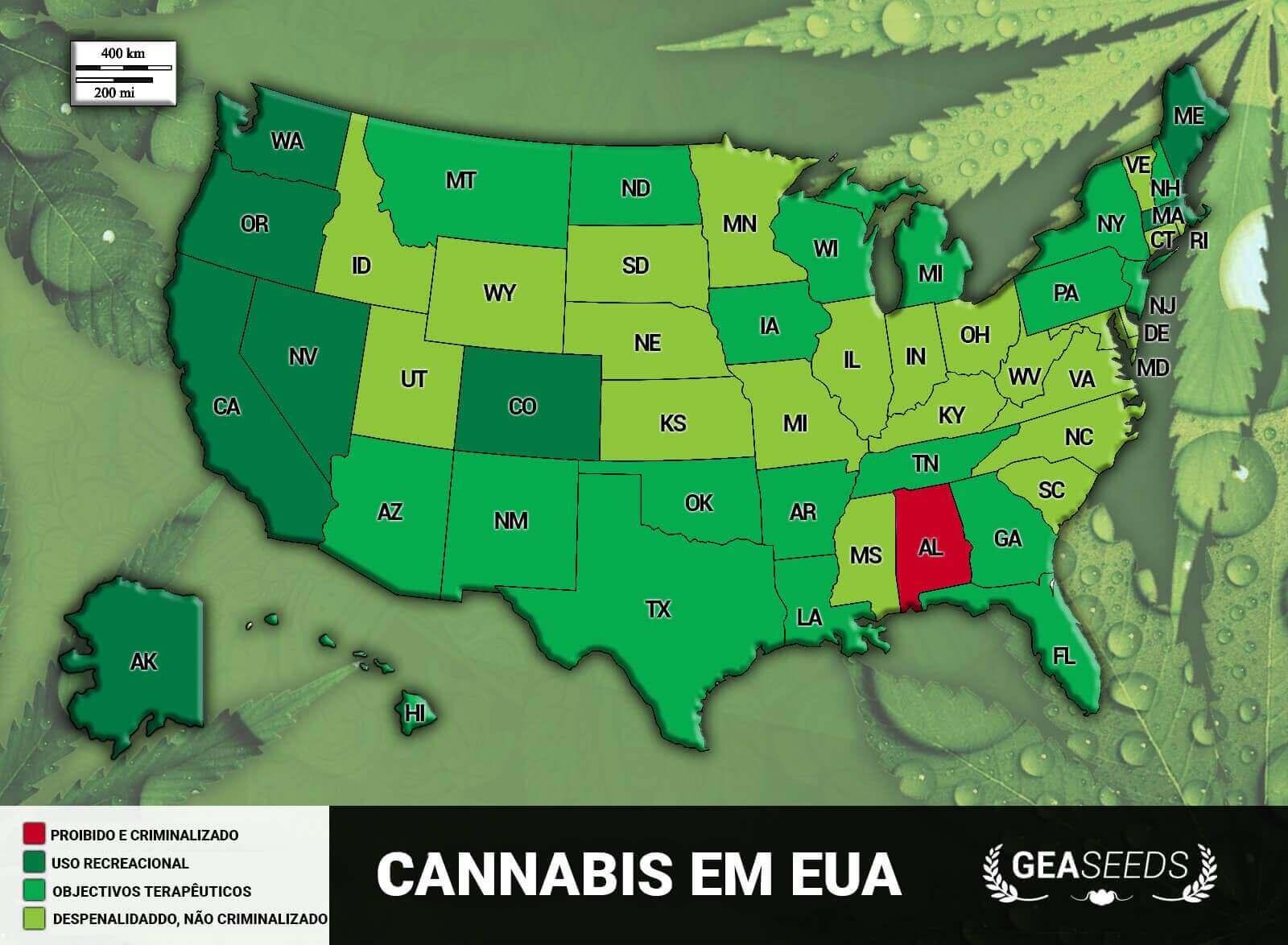 Mapa de cannabis EUA